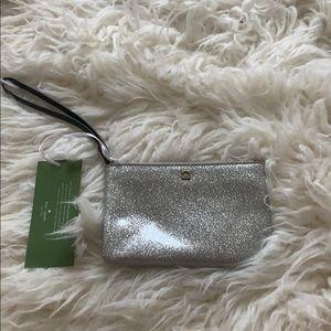 Brand New Silver Glitter Kate Spade Wristlet